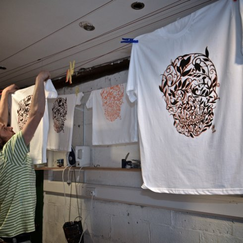 Jay hand printing Life After Death 2012